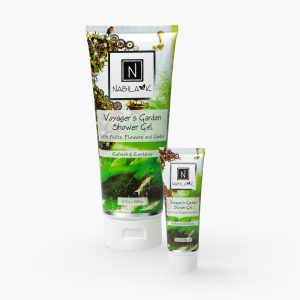 1 Travel and Large Size of Nabila K's Voyager's Garden Shower Gel with Fruits, Flowers and Herbs Refresh and Revitalize