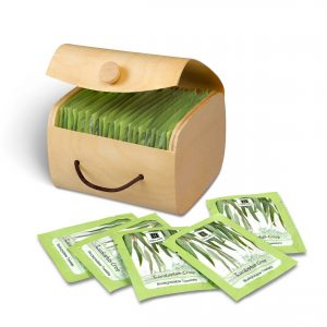 1 opened wooden box of Nabila K's Eucalyptus Crisp Biodegradable Towelettes
