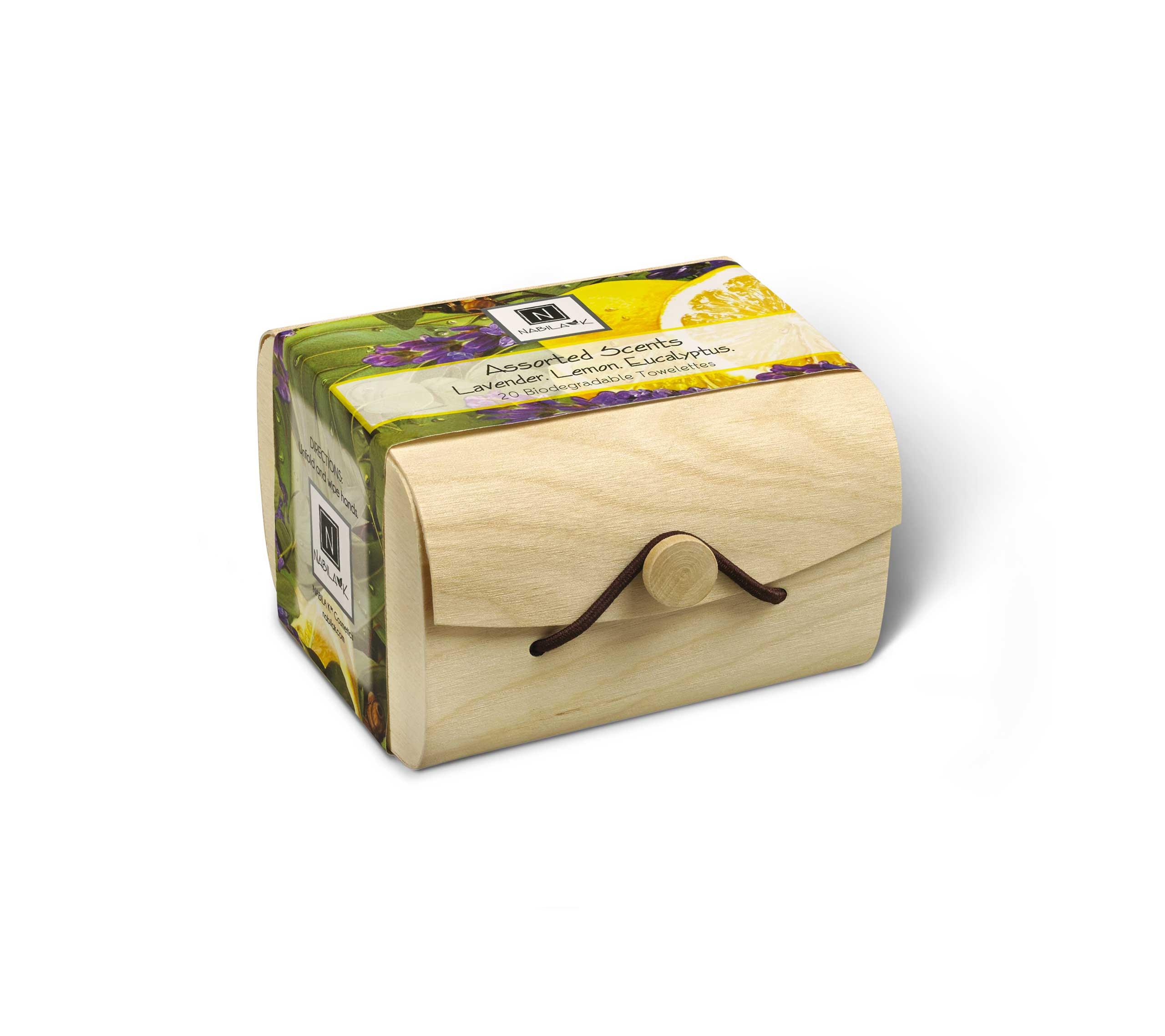 Assorted Box of 20 Lavender, Lemon, and Eucalyptus Biodegradable Towelettes