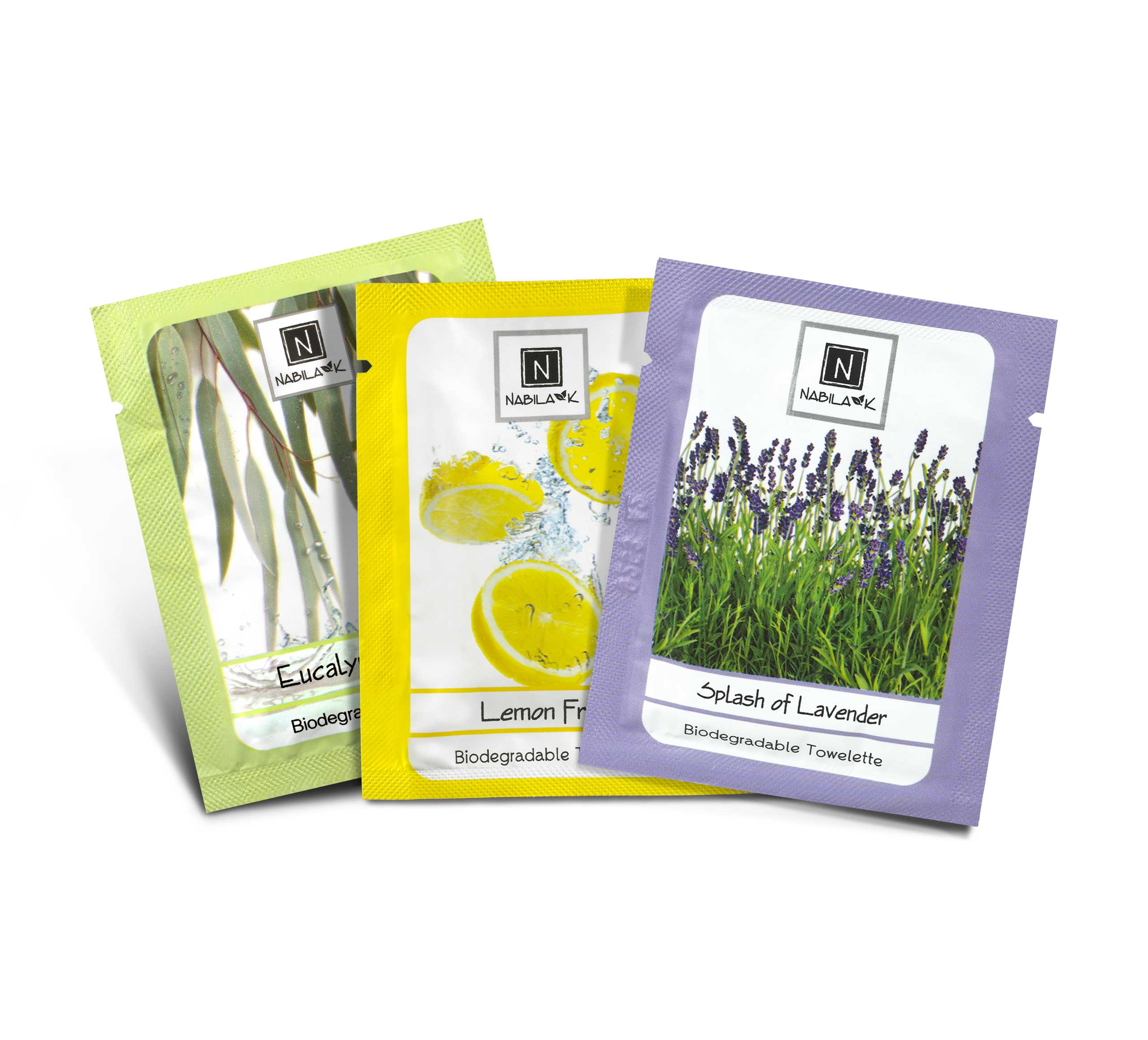 3 of Nabila K's Biodegradable Towelettes in Lavender, Lemon, Eucalyptus Scent