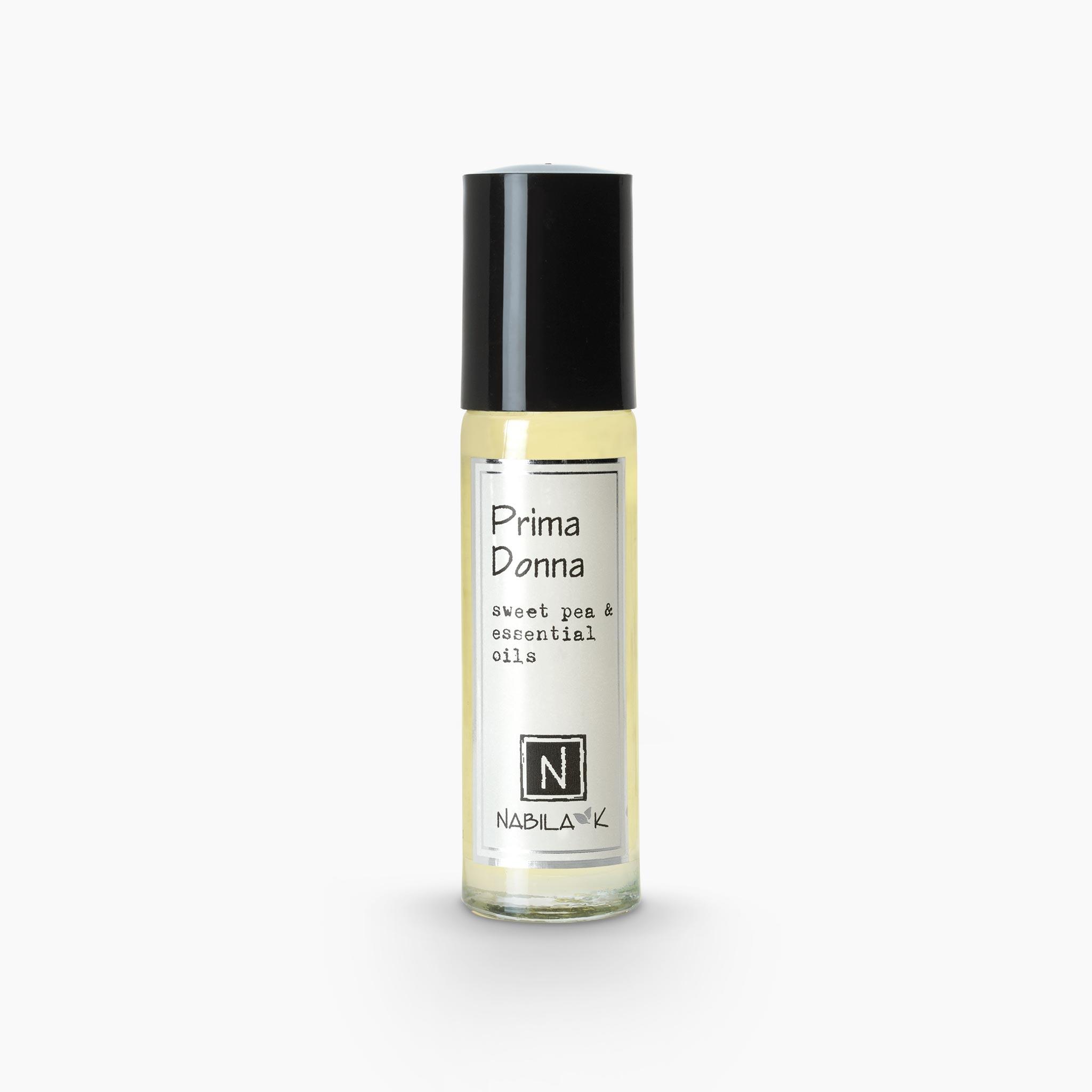.33oz of Nabila K's Prima Donna Sweet Pea and Essential Oils Roll on Perfume