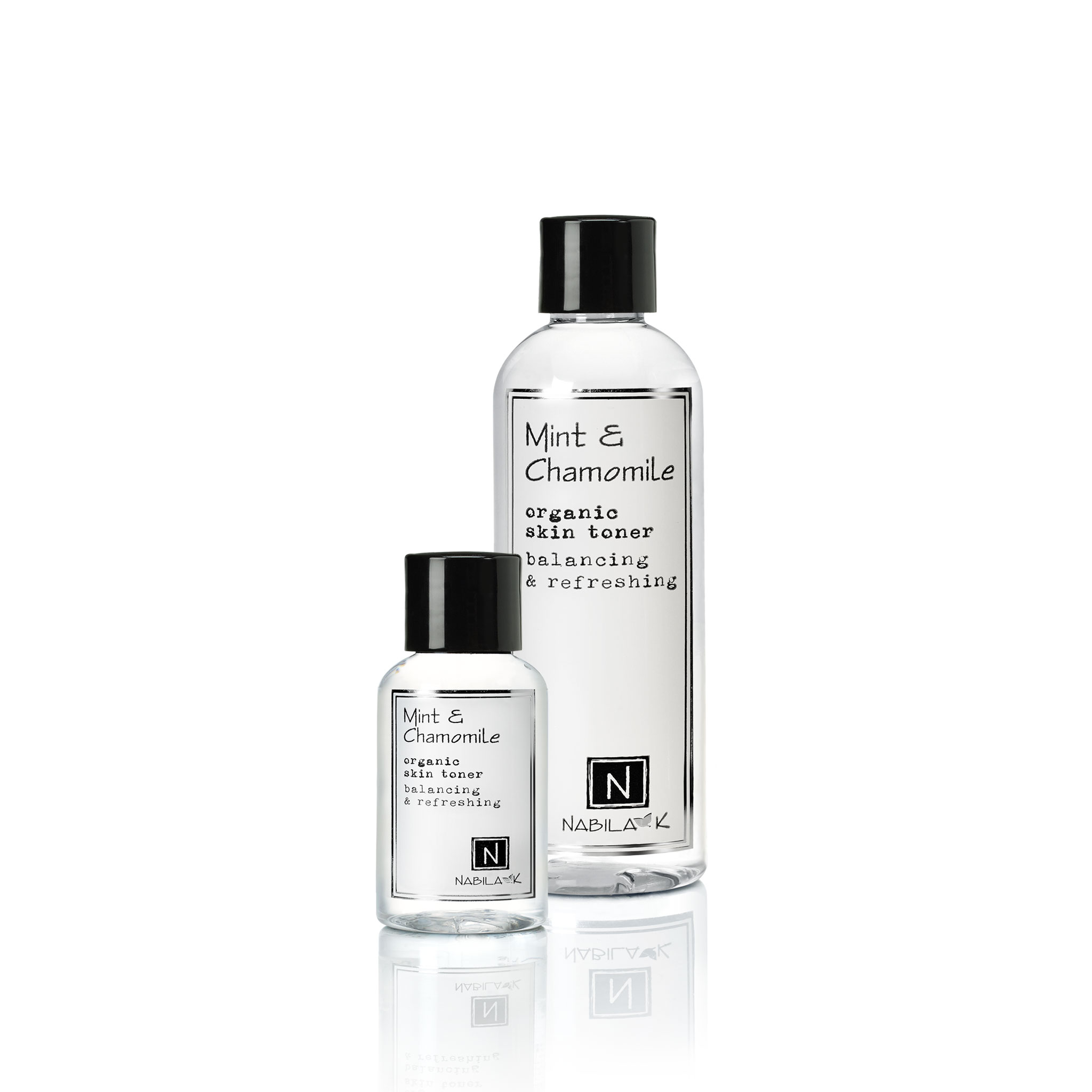 9oz and 2.4oz bottle of Nabila K's Mint and Chamomile Organic Skin Toner Balancing and Refreshing