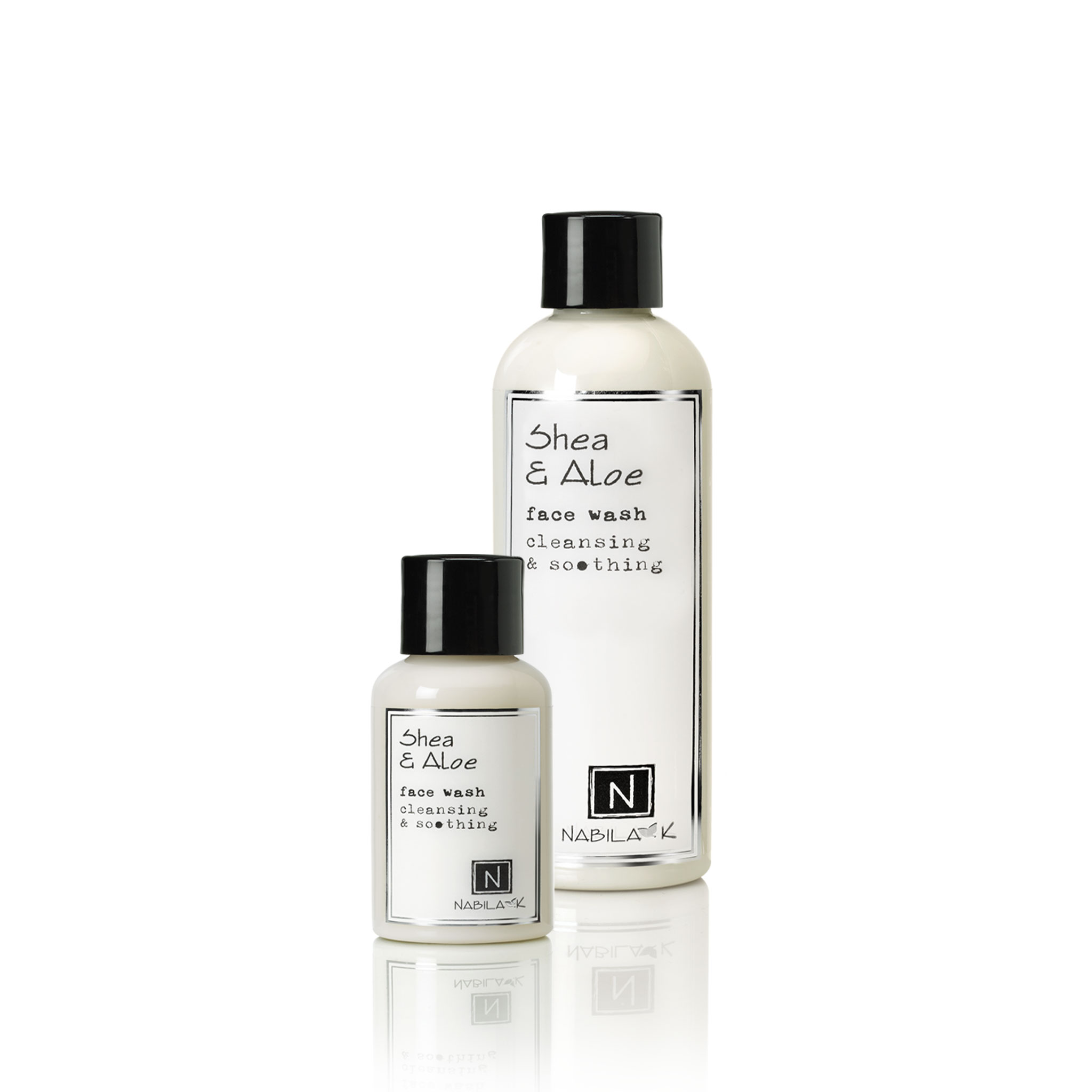 2.4oz and 9oz bottle of Shea and Aloe Face Wash Cleansing and Soothing