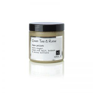 1 5oz jar of Nabila K's Green Tea and Rose Face Polish with sugar, dead sea salt, kokum and cocoa butter