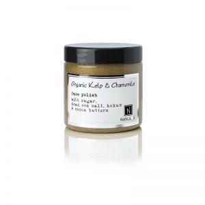 1 5oz jar of Nabila K's Organic Kelp and Chamomile Face Polish with sugar, dead sea salt, kokum and cocoa butter