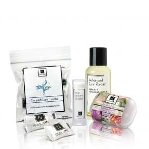 Nabila K's Luxury Kit 3 which included 1 Compact Hand Towel which included 12 disposable and bio-degradable towels, 1 Acai Moisturizing Lip Balm, 1 Advanced Eye Repair, and 1 Crystal etch microdermabration exfoliating soap bar