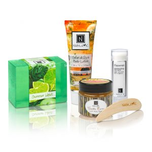 Nabila K's Luxury Kit Summer Safari Box which includes summer heat organic glycerin soap, Safari at Dusk lotion, Vanilla lip polish, cool and soothing Peppermint lip balm.