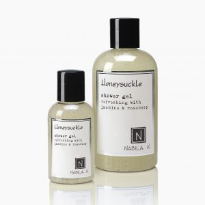 A Travel Size and Large size Honeysuckle Shower Gel Refreshing with Jasmine and Rosemary from Nabila K