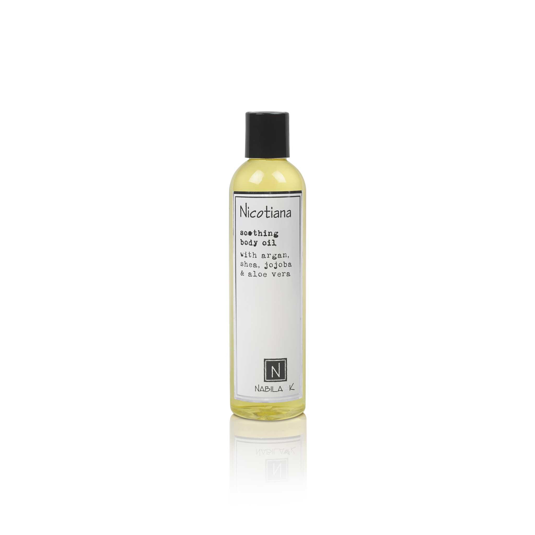 1 9oz bottle of nabila k's nicotiana soothing body oil with argan, shea, jojoba, and aloe vera