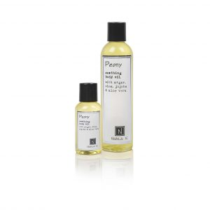 1 2.4oz and 9oz Bottle of Peony Soothing Body Oil with Argan, shea, jojoba, and aloe vera