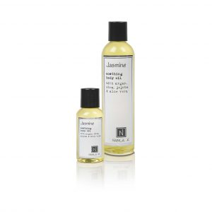 1 2.4oz and 1 9oz Bottle of Jasmine Soothing Body Oil with Argan, shea, jojoba, and aloe vera