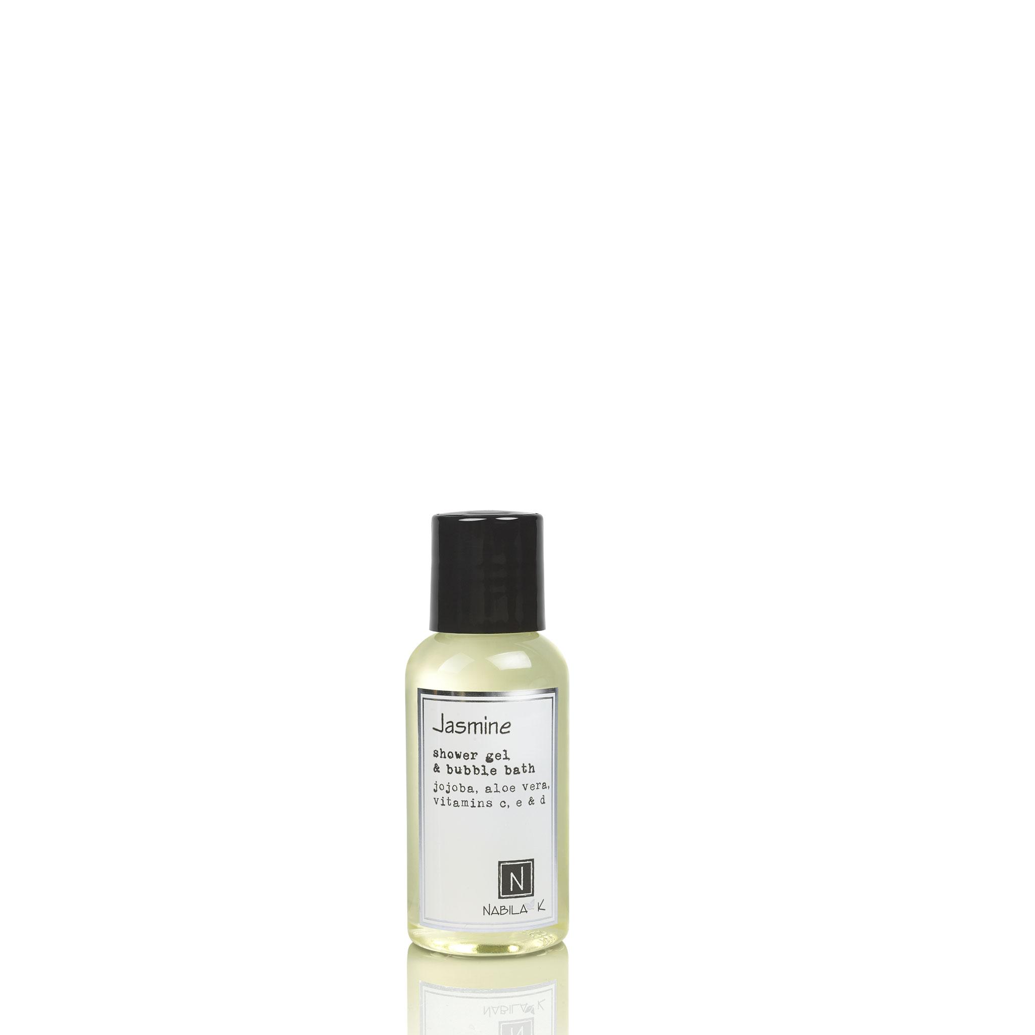 One Travel Size Version of Nabila K's Jasmine Shower Gel and Bubble Bath Jojoba, Aloe Vera, Vitamins C, E, & D