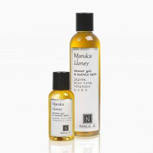 One Large and Travel Size Version of Nabila K's Manuka Honey Shower Gel and Bubble Bath Jojoba, Aloe Vera, Vitamins C, E, & D