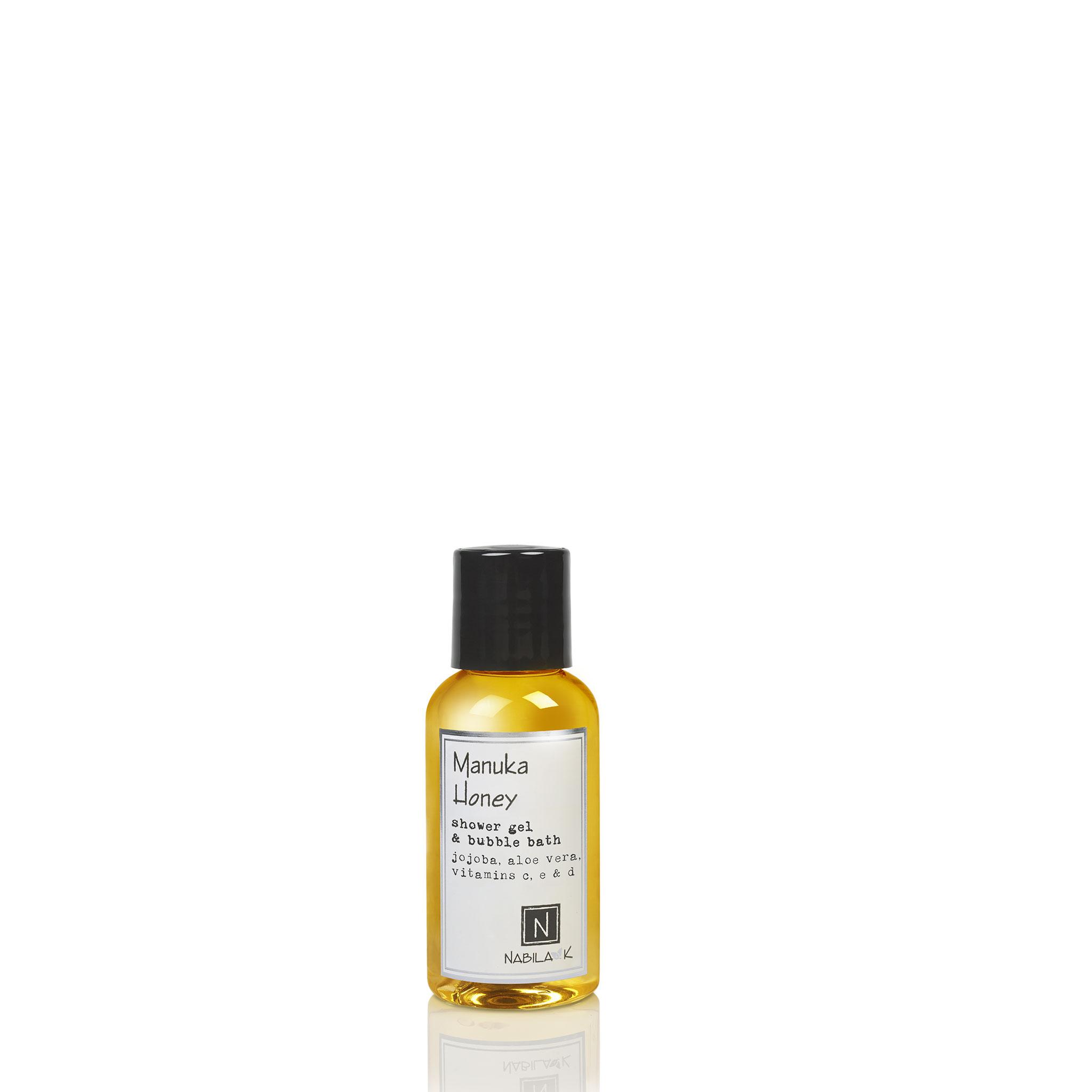 One Travel Size Version of Nabila K's Manuka Honey Shower Gel and Bubble Bath Jojoba, Aloe Vera, Vitamins C, E, & D