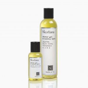 One Large and Travel Size Version of Nabila K's Nicotiana Shower Gel and Bubble Bath Jojoba, Aloe Vera, Vitamins C, E, & D