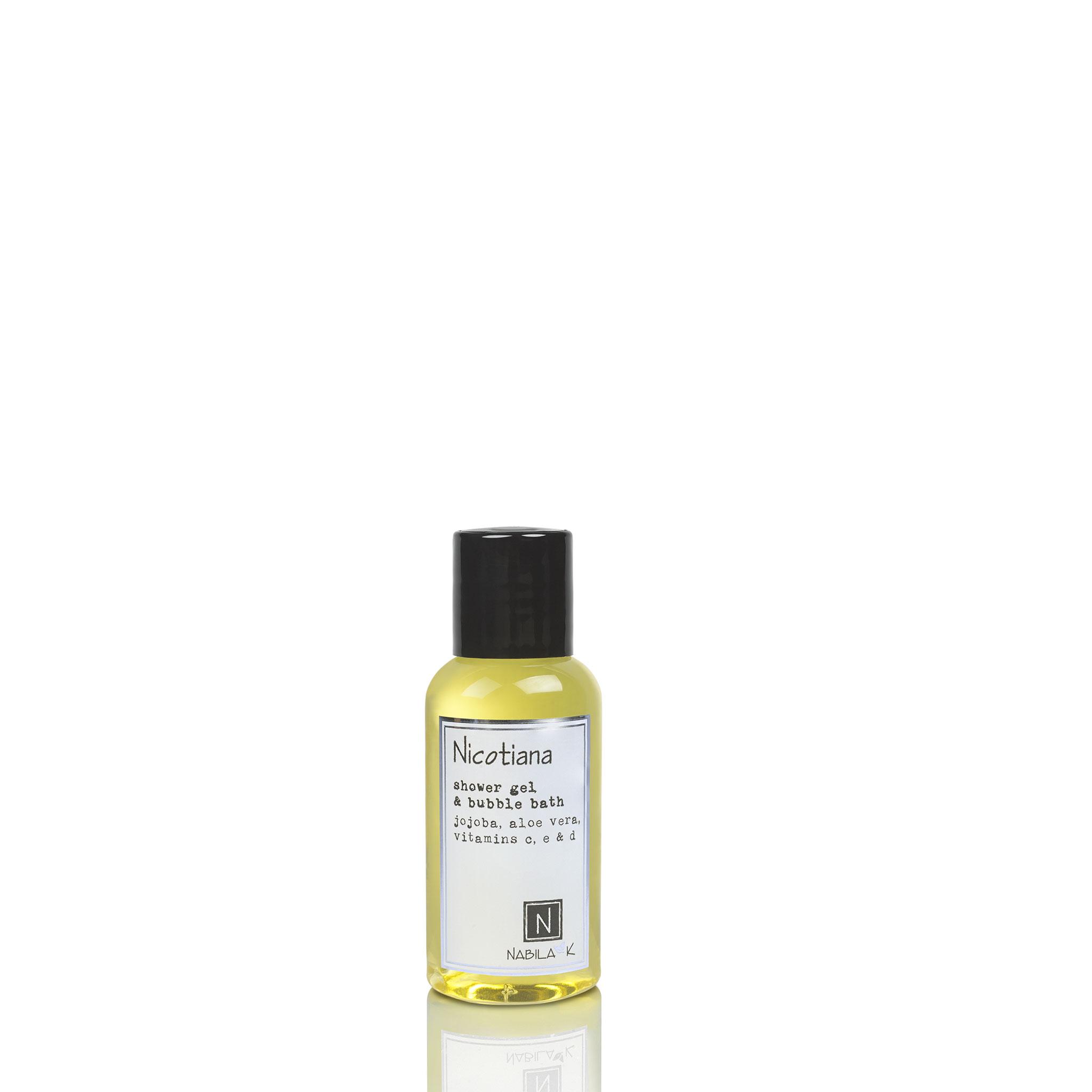 One Travel Size Version of Nabila K's Nicotiana Shower Gel and Bubble Bath Jojoba, Aloe Vera, Vitamins C, E, & D