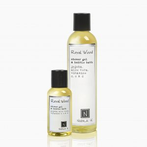 One Large and Travel Size Version of Nabila K's Royal Wood Shower Gel and Bubble Bath Jojoba, Aloe Vera, Vitamins C, E, & D