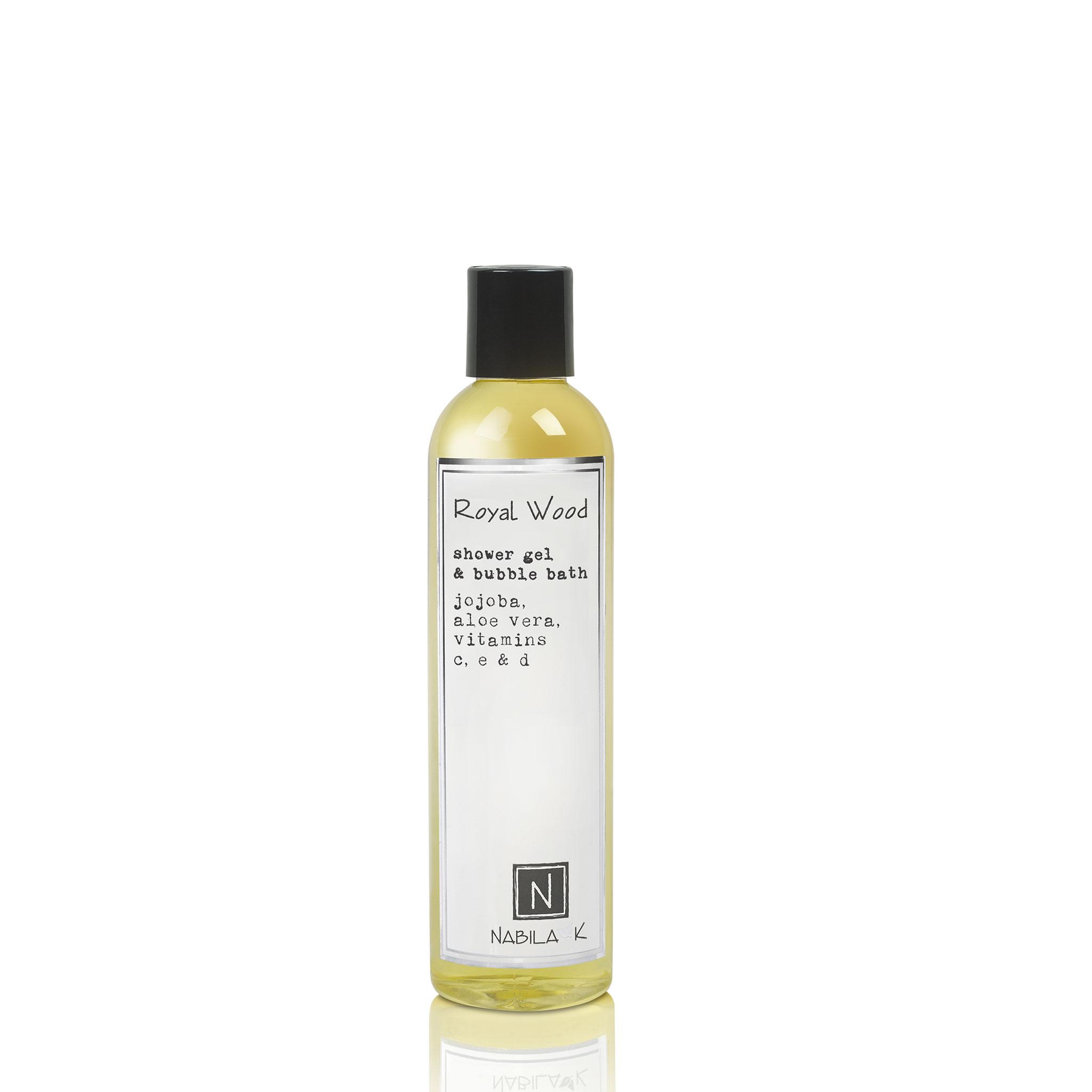 One Large Size Version of Nabila K's Royal Wood Shower Gel and Bubble Bath Jojoba, Aloe Vera, Vitamins C, E, & D