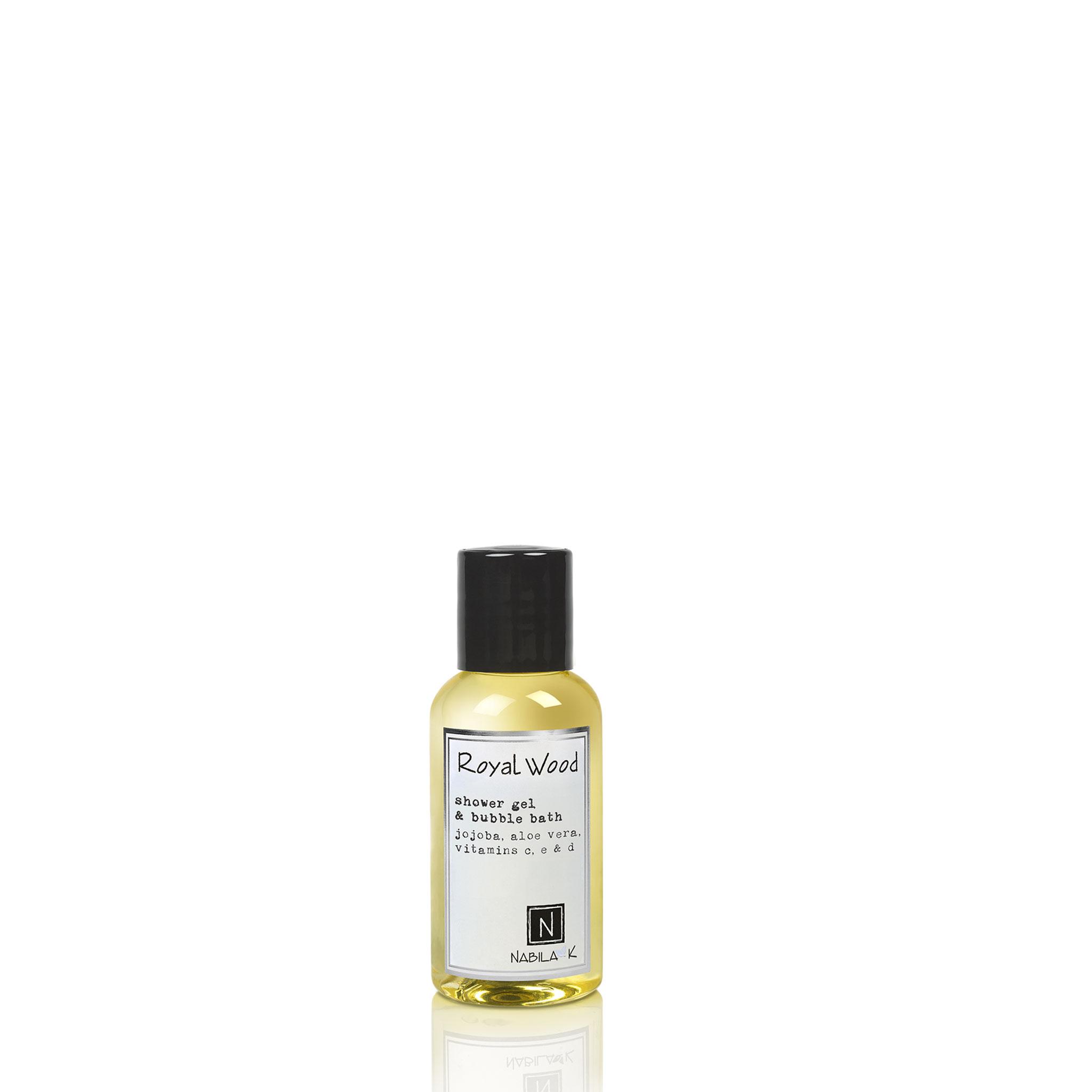 One Travel Size Version of Nabila K's Royal Wood Shower Gel and Bubble Bath Jojoba, Aloe Vera, Vitamins C, E, & D