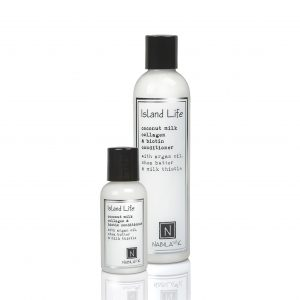1 Large and 1 Travel Sized Version of Nabila K's Island Life Coconut Milk Collagen and Biotin Conditioner with Argan Oil, Shea Butter, and Milk Thistle