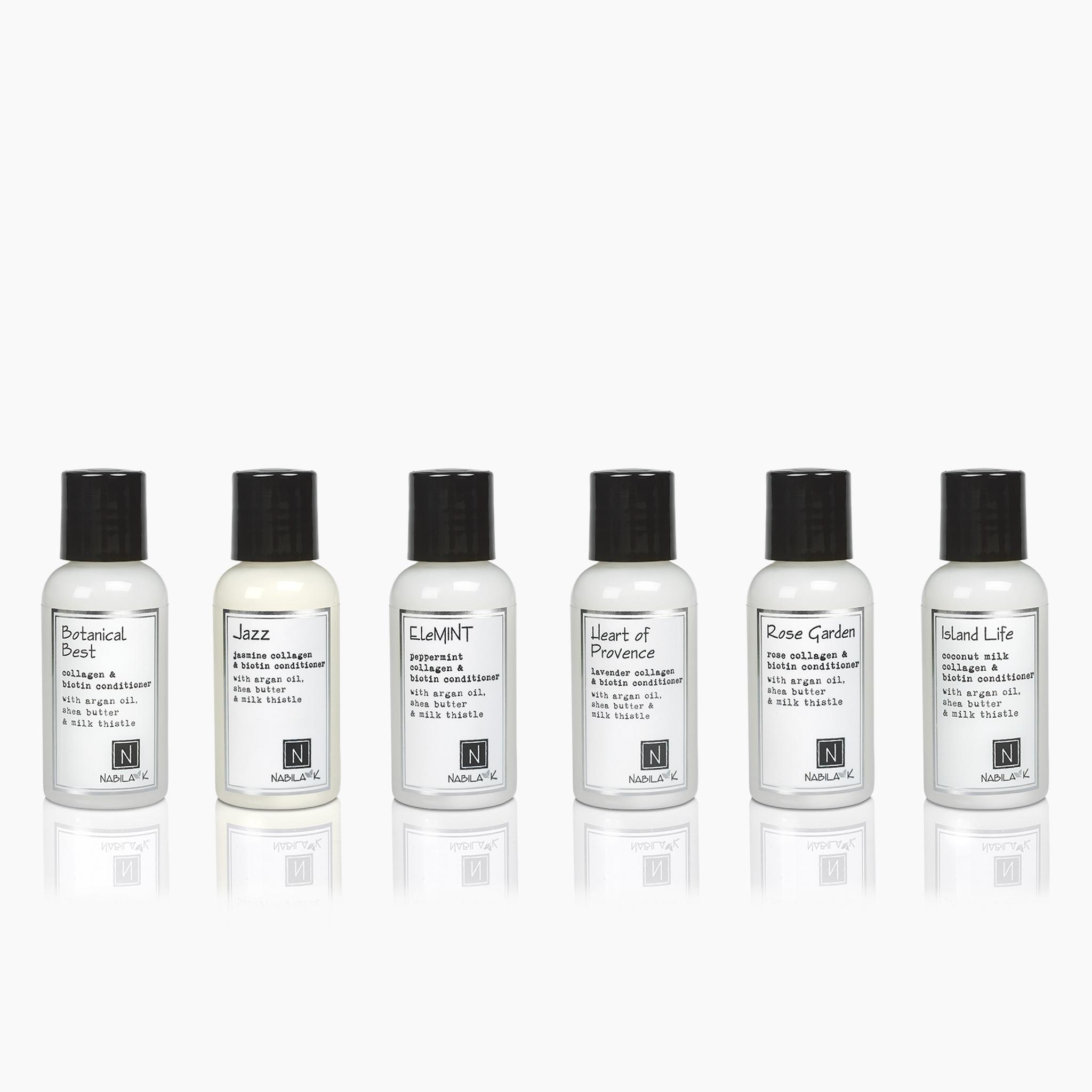 6 Travel Sized Bottles of Nabila K's Collagen and Biotin Conditioner