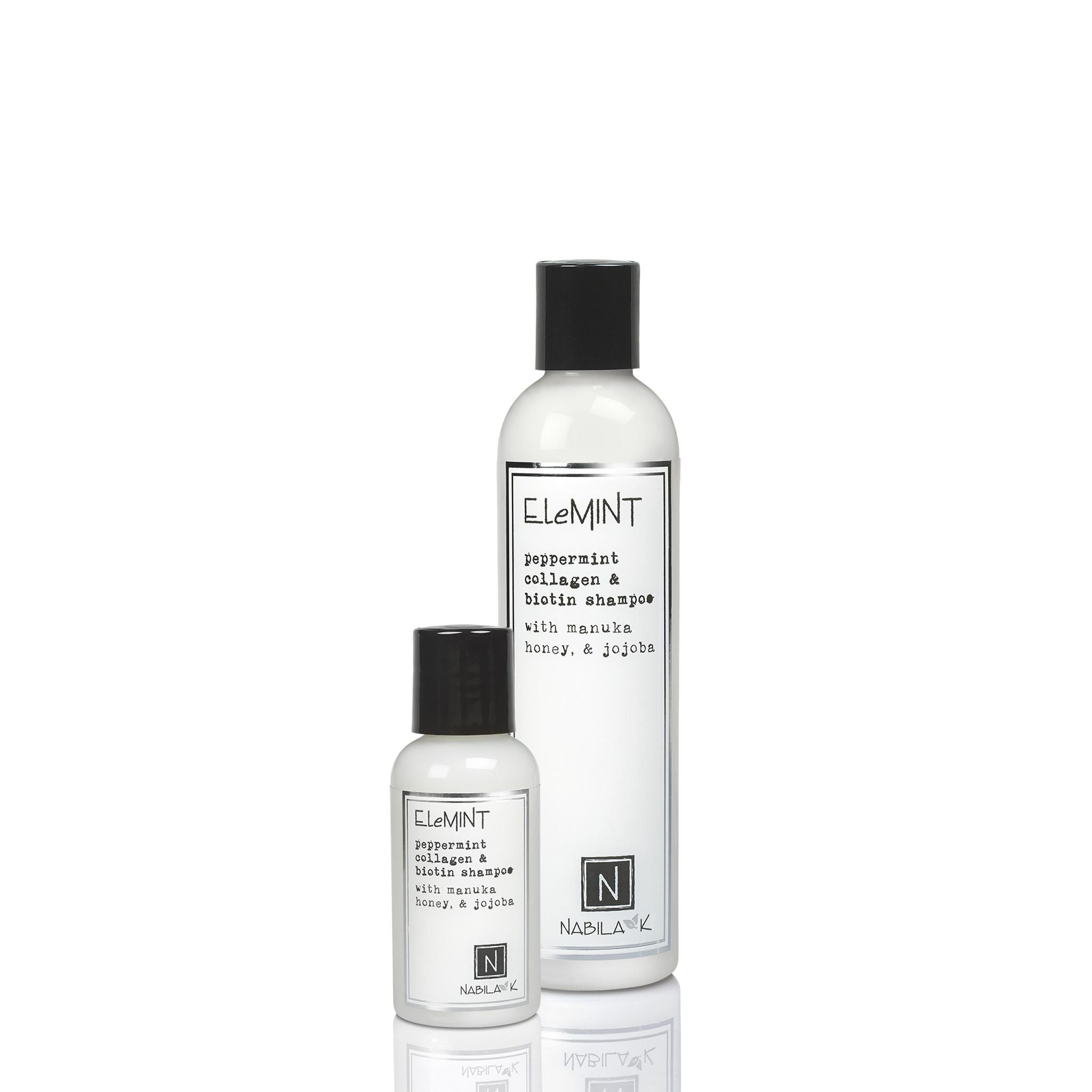 1 Large and Travel Sized Bottle of Elemint Peppermint Collagen and Biotin Shampoo with Manuka Honey and Jojoba