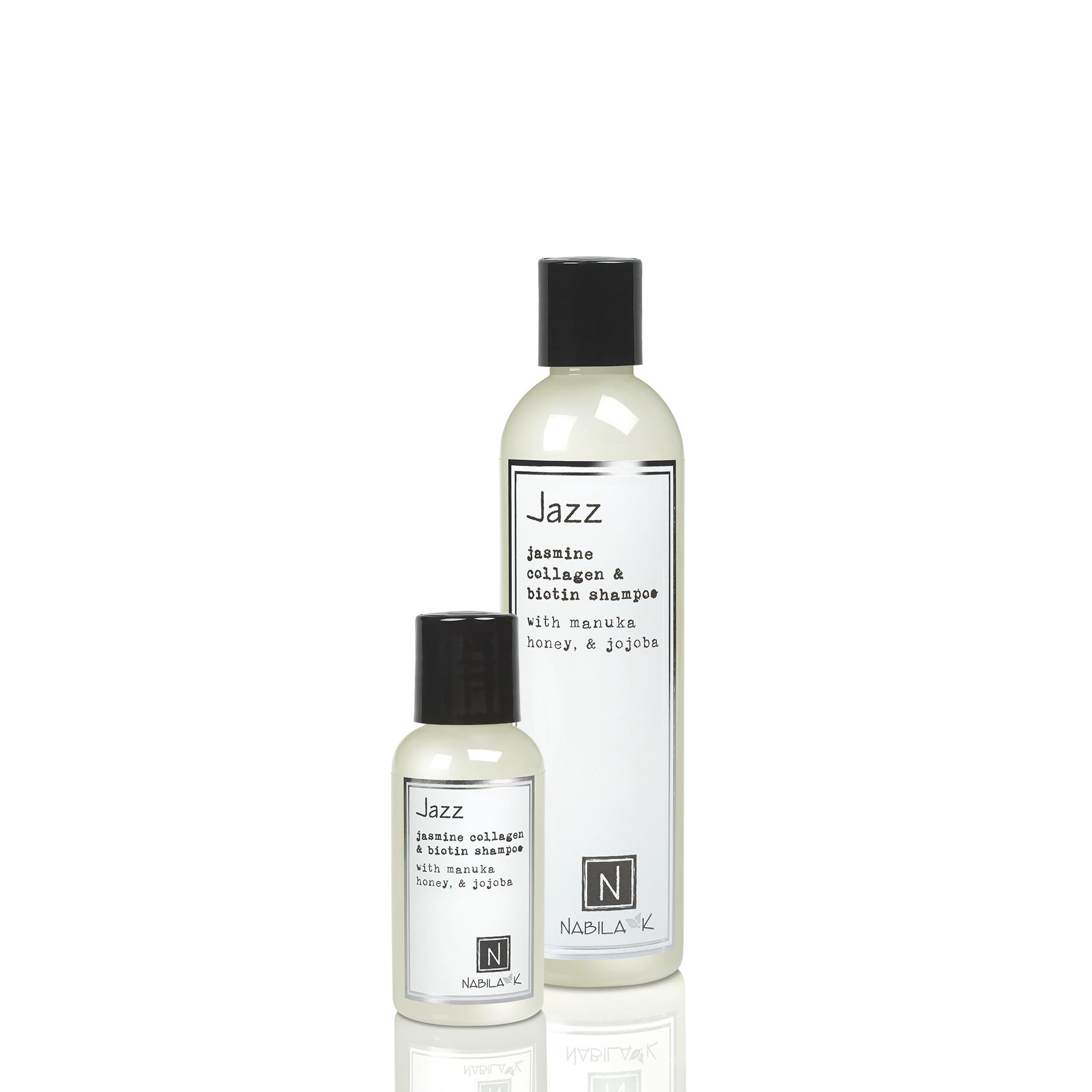 1 Travel and 1 Large Sized Bottle of Jasmine Collagen and Biotin Shampoo with Maunka Honey and Jojoba