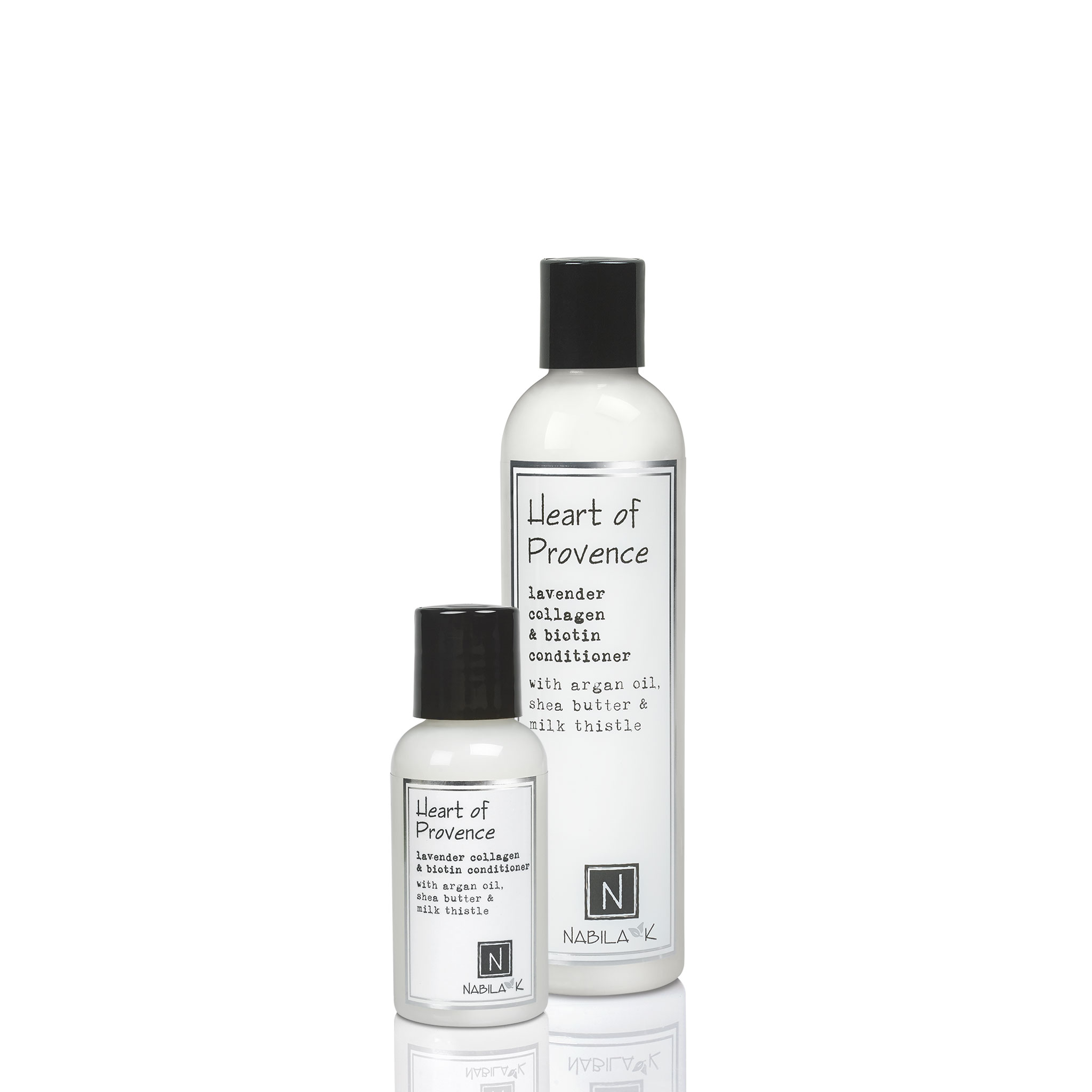 1 Travel and 1 Large Sized Bottle of Heart of Provence Lavendar Collagen and Biotin Conditioner with Argan Oil, Shea Butter, and Milk Thistle