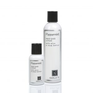 1 Large and Travel Size Version of Peppermint Mani-Pedi Lotion with Aloe and Shea Butter
