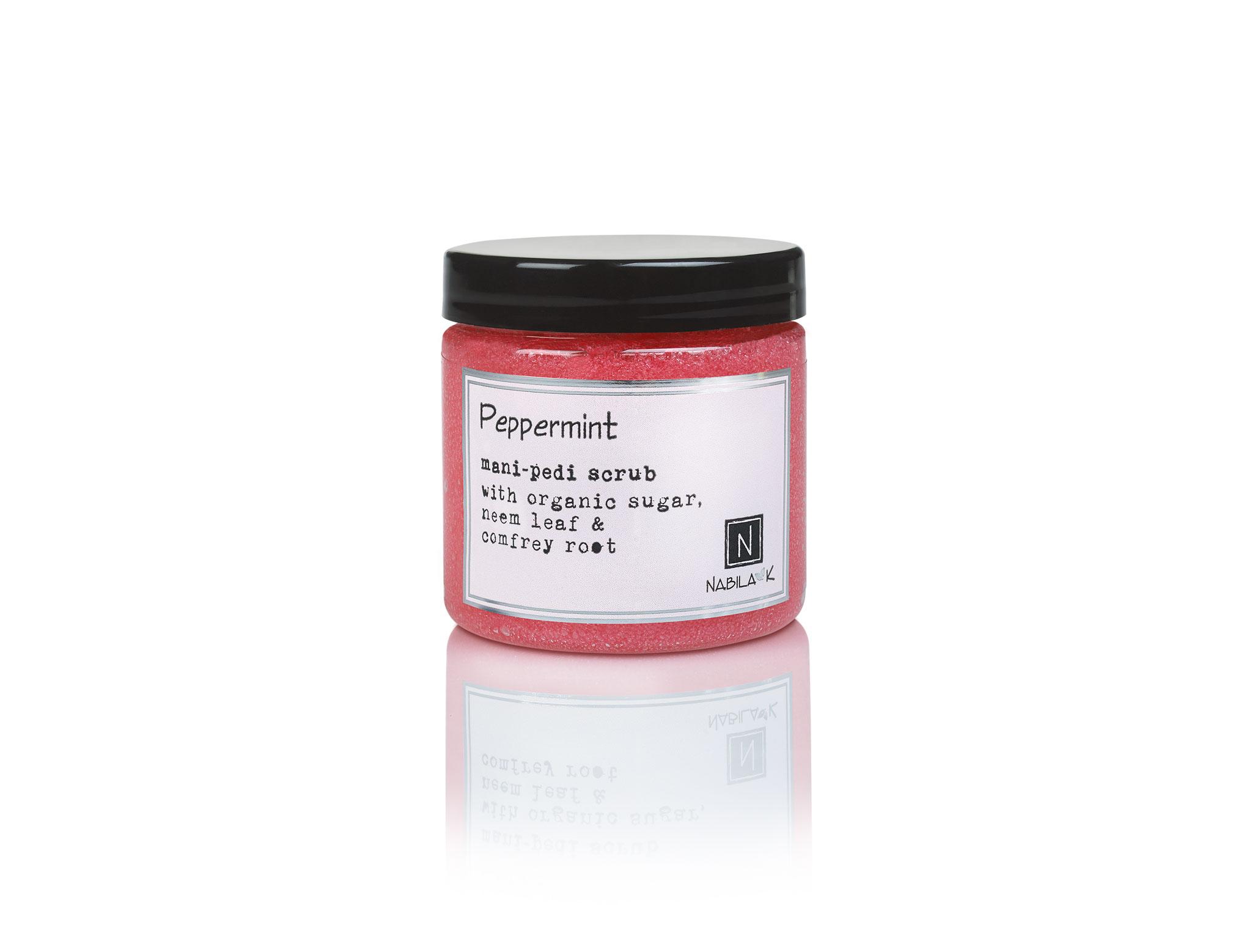 1 Jar of Nabila K's Peppermint Mani-Pedi Scrub with Organic Sugar, Neem Leaf and Comfrey Root