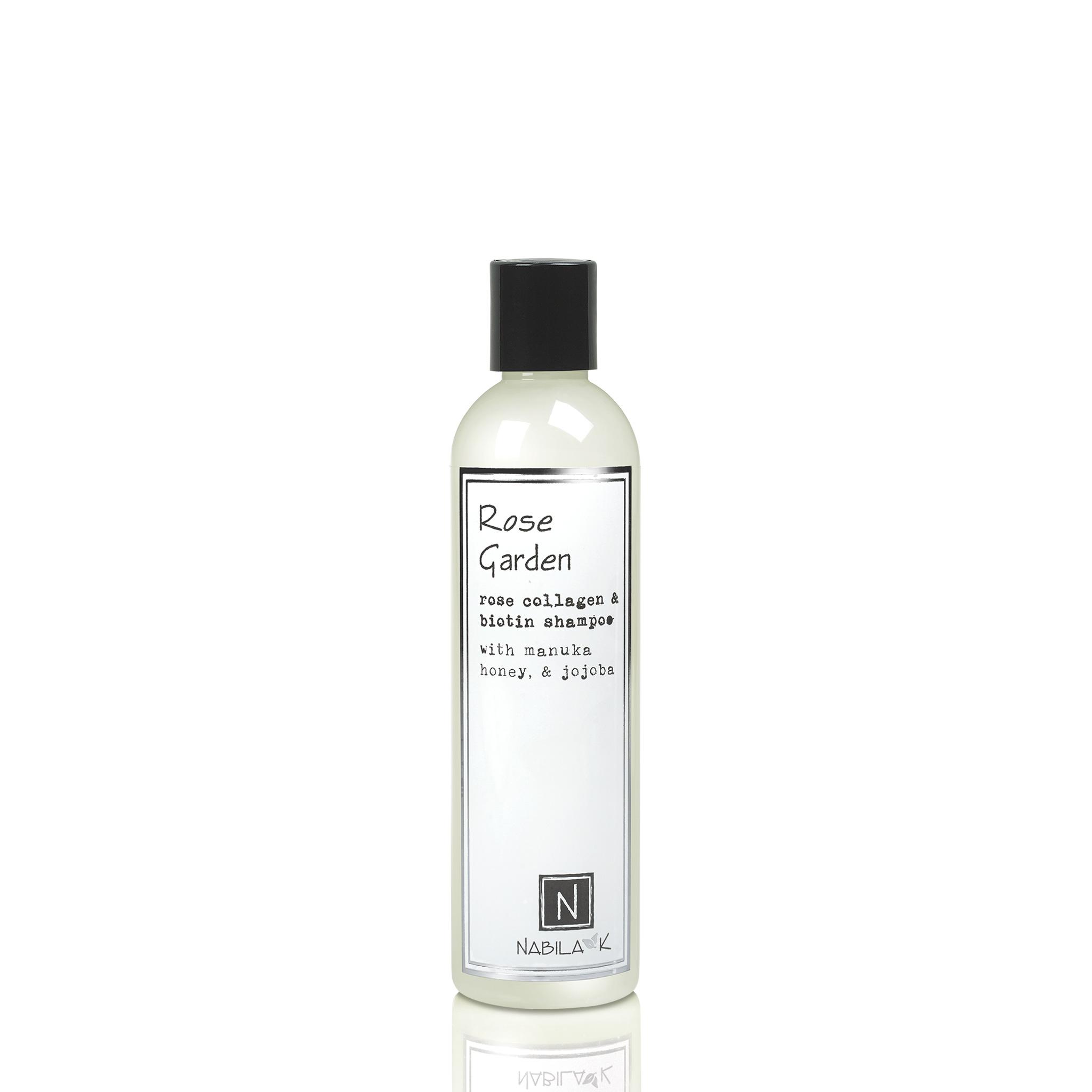 1 Large Sized Bottle of Nabila K's Rose Garden Rose Collagen and Biotin Shampoo with Maunka Honey and Jojoba