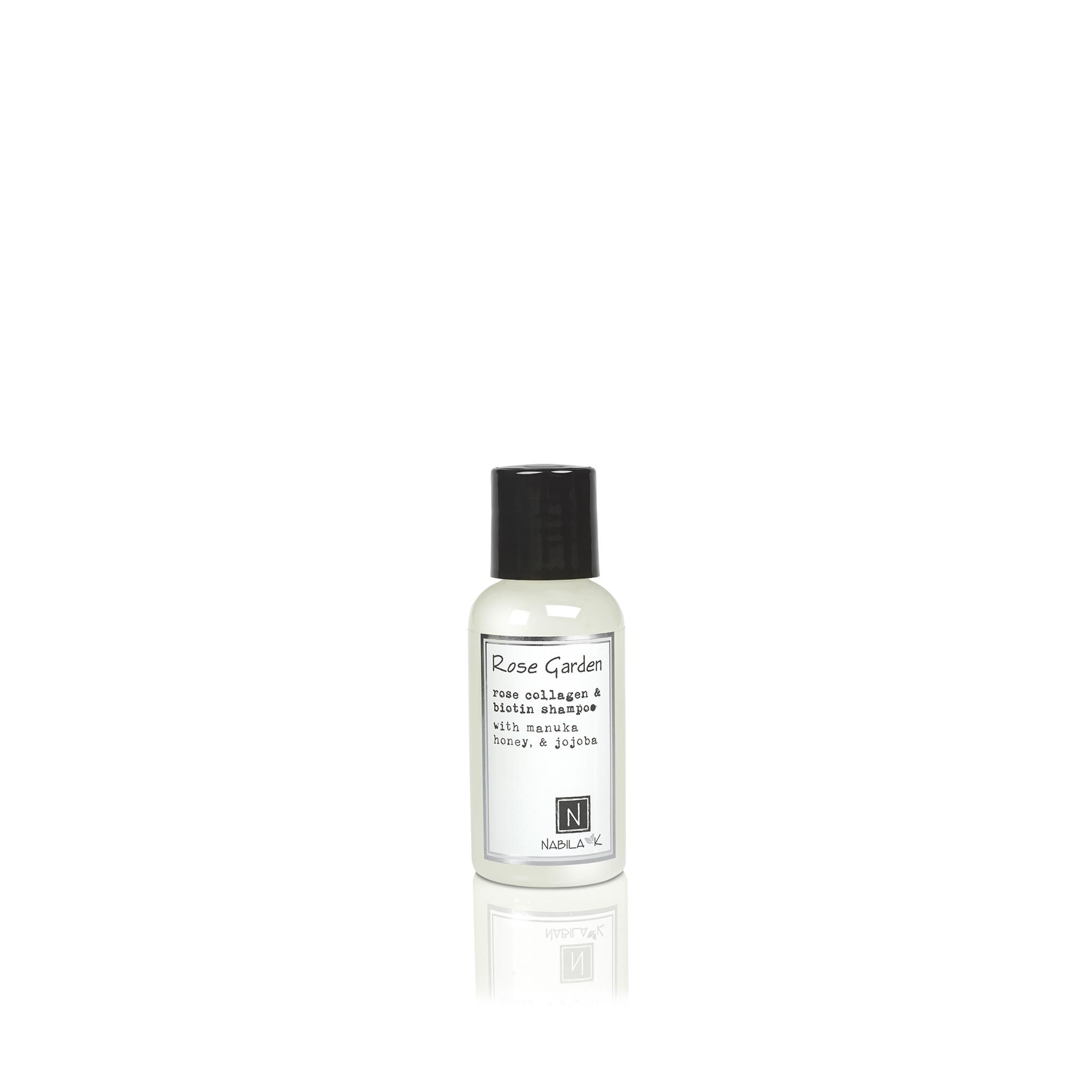 1 Travel Sized Bottle of Nabila K's Rose Garden Rose Collagen and Biotin Shampoo with Maunka Honey and Jojoba