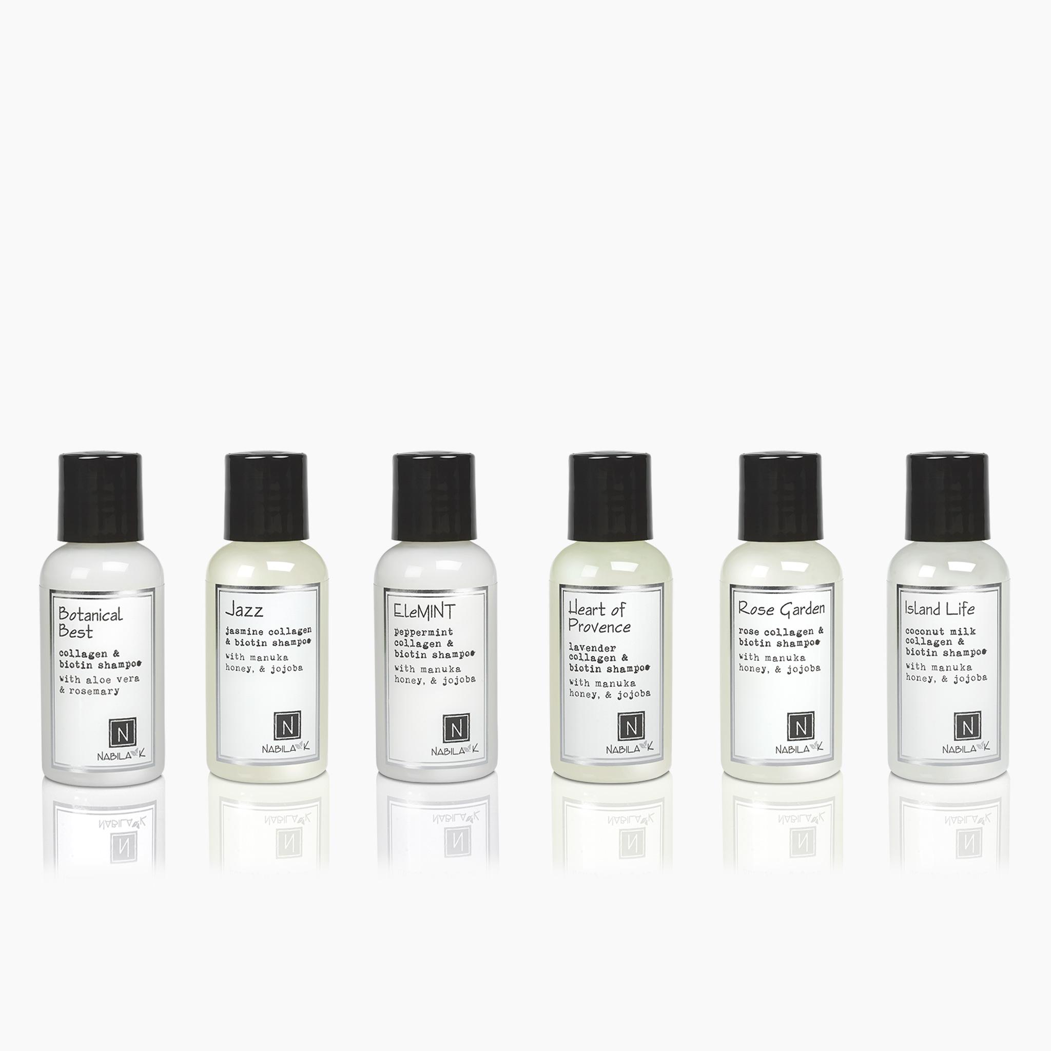 6 Travel Sized Bottles of Nabila K's Collagen and Biotin Shampoo